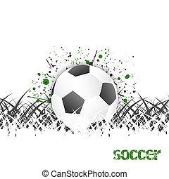 (football), ボール, grass., ベクトル, 背景, サッカー