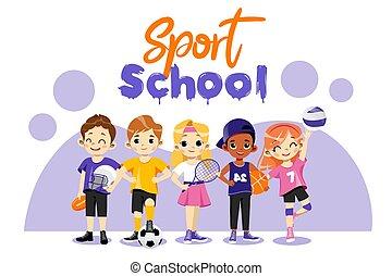 football., 野球, ユニフォーム, 幸せ, 民族, multi, 子供, 漫画, ベクトル, バスケットボール, sports., style., バレーボール, 別, 背中, プレーしなさい, テニス, concept., 学校, イラスト, タイプ, set., 平ら, 十代の若者たち