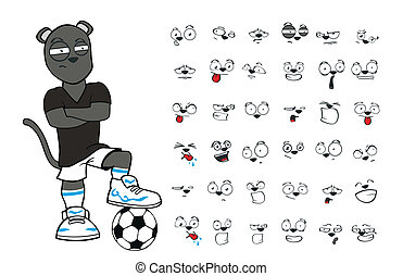 football, 2, ensemble, dessin animé, panthère