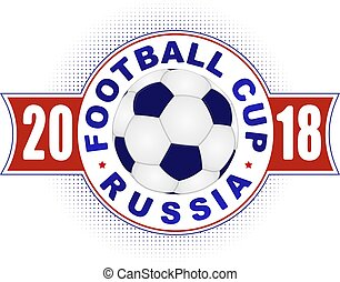 Football 2018 championship design in colors of national flag of Russia. Vector illustration with soccer ball.