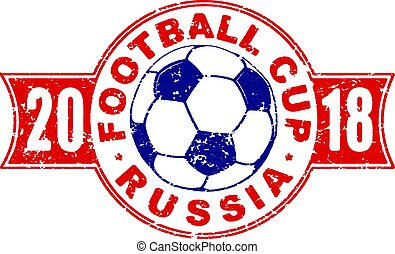 Football 2018 championship design in colors of national flag of Russia. Vector illustration with soccer ball in grunge style.