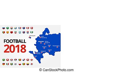Football 2018, Europe Qualification, all Groups and map with Russian the host cities.