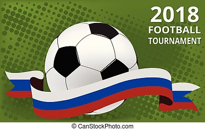 Football 2018 world championship cup. Background in Russia flag colors