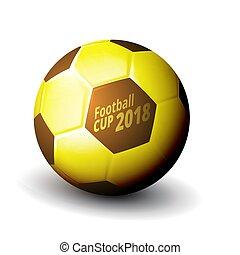 Football 2018 World Championship Cup Gold Ball. EPS10 Vector