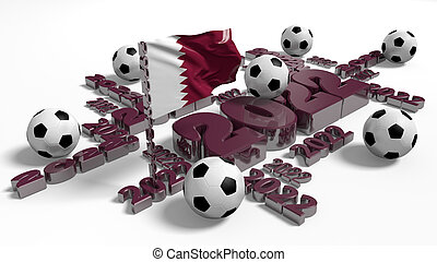 Football 2022 design with Qatar Flag and Balls
