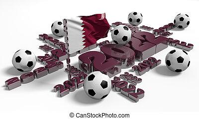 Football 2022 design with Qatar Flag and Balls