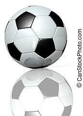 Football - 3d rendering of a black and white football