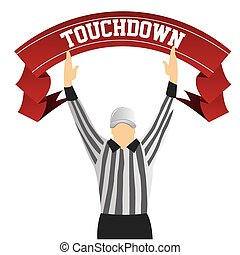 football - a referee with both hands up as a touchdown...