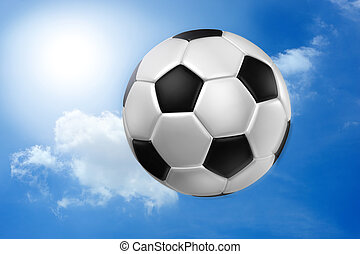 Football against blue sky .