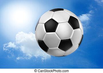 Football against blue sky .