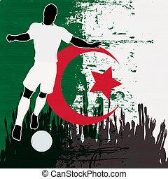 Football Algeria, Vector Soccer player over a grunged...