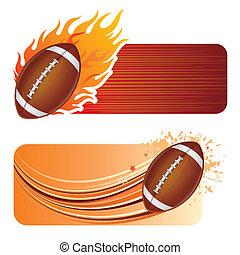 football américain, à, flammes