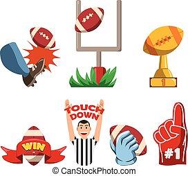 football américain, écusson, fantaisie, enjôleur