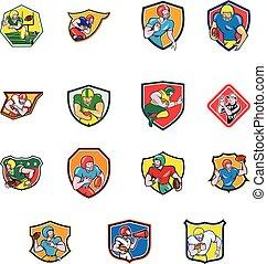 football, américain, bouclier, icône, ensemble, collection