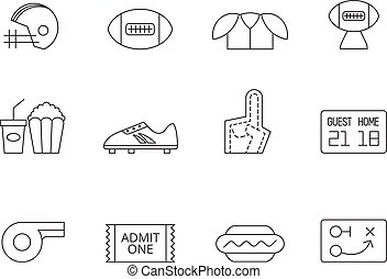 football américain, -, contour, icônes