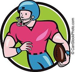 football, américain, courant, récepteur, cercle, dessin animé