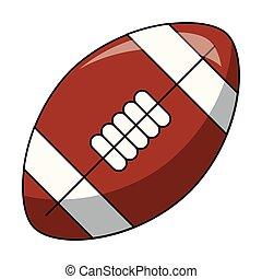 football américain, dessin animé, balle, isolé