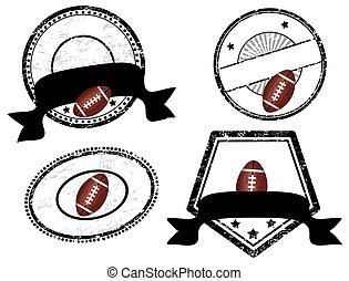 football américain, thème, vide, timbres