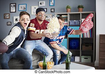 football americano, sostenitori, eccitante, scena
