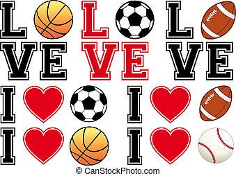 football, amore, calcio, pallacanestro