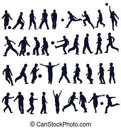 Football and children silhouettes