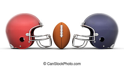 Football and helmets - 3D render of a football and helmets