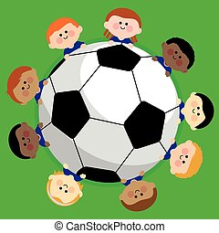 Football and kids team - Illustration of a football and a...