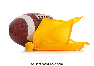 Football and penalty flag on white