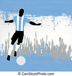 Football Argentina, Vector Soccer player over a grunged Argentinian Flag and cheering crowd