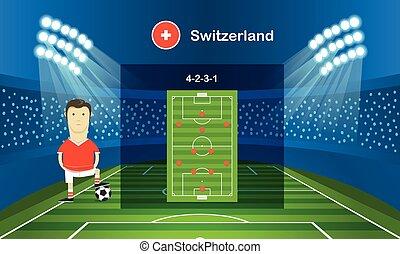 football, arrangement., infographic, sagoma, squadra, calcio