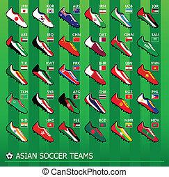 football, asiatique, équipes
