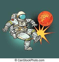 football, astronaute, jouer, mars