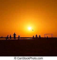 Football at Jumeira beach in Dubai