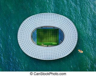 football, bâtiment, arrière-plan., stade, mer, bleu