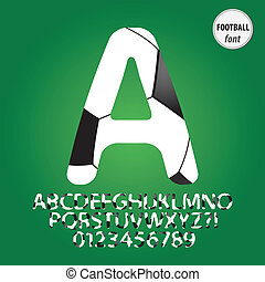 football bal, alfabet, en, cijfer, vector