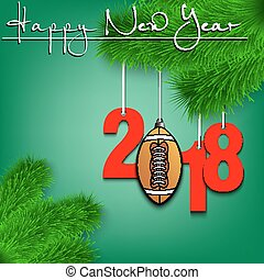 Football ball and 2018 on a Christmas tree branch - Happy...
