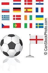 football ball and flag