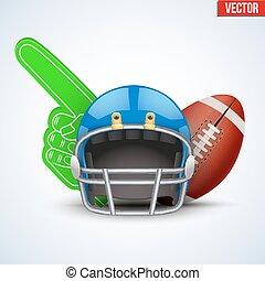 Football ball and helmets