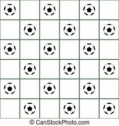 Football Ball Dark Green Grid White Background