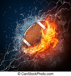 Football Ball in Fire and Water. Computer Graphics.