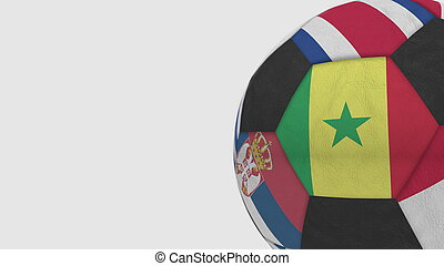 Football ball featuring different national teams accents flag of Senegal. 3D rendering