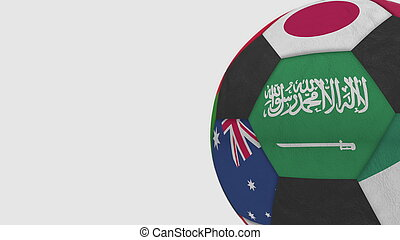 Football ball featuring different national teams accents flag of Saudi Arabia. 3D rendering