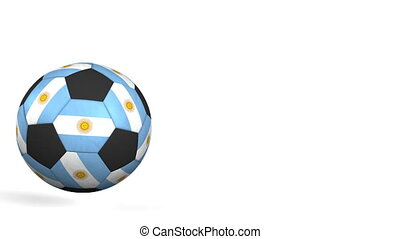 Football ball featuring flags of Argentina. Alpha matte for...