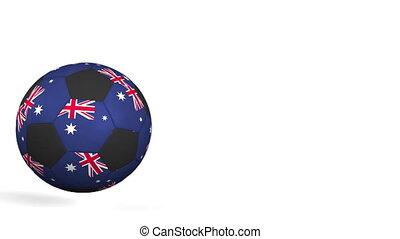 Football ball featuring flags of Australia. Alpha matte for...