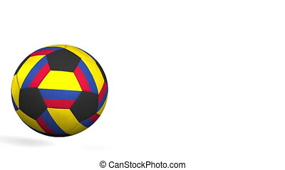 Football ball featuring flags of Colombia. Alpha matte for...