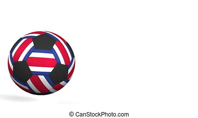 Football ball featuring flags of Costa Rica. Alpha matte for...