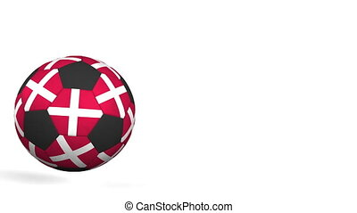 Football ball featuring flags of Denmark. Alpha matte for...