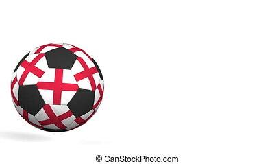Football ball featuring flags of England. Alpha matte for...
