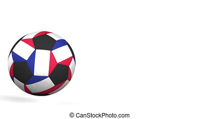 Football ball featuring flags of France. Alpha matte for...