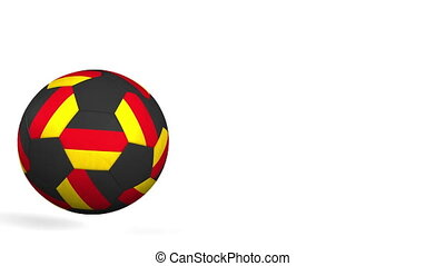 Football ball featuring flags of Germany. Alpha matte for...